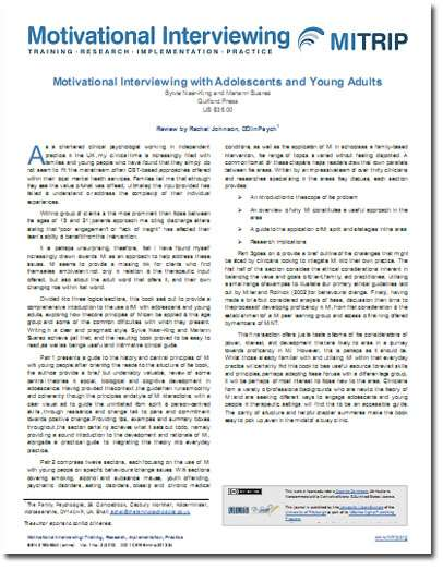 Dr Rachel Johnson - Book Review - Motivational Interviewing with Adolescents and Young Adults